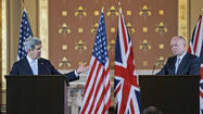 LONDON -- John Kerry used the first stop on his first foreign tour as secretary of state to urge Syrian opposition parties to join a proposed meeting this week in Rome that will seek solutions to that country's protracted civil war.