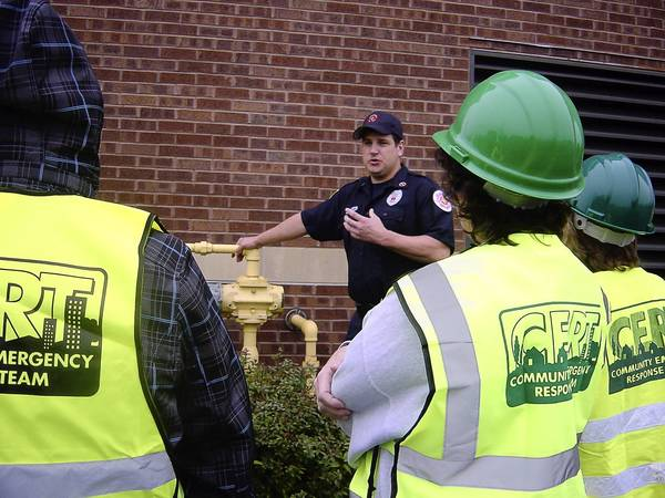 A 2012 Fremont Township CERT training session shows attendees how to safely turn off gas to a residence.