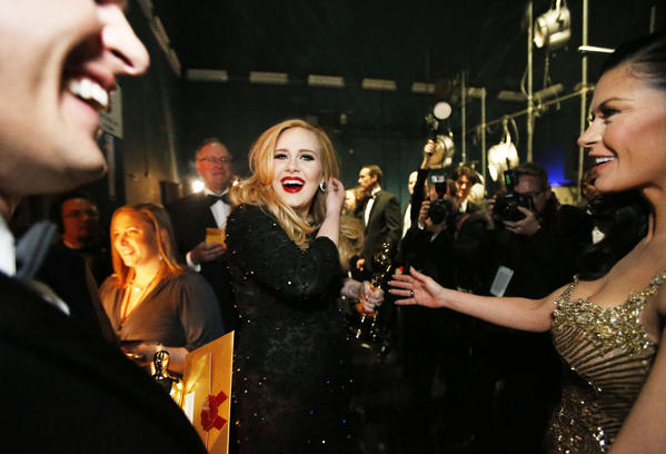 "Adele after accepting her Oscar for ""Skyfall."""