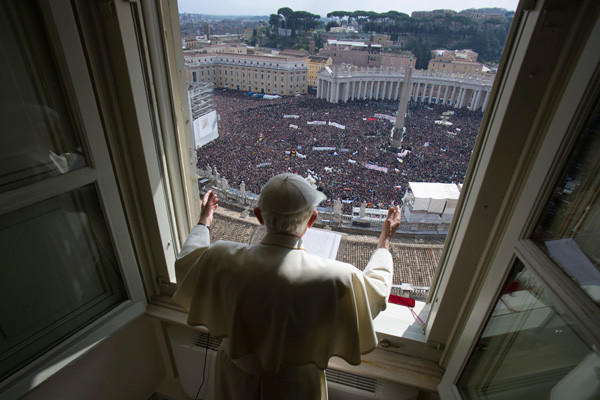 Pope Benedict XVI leads his last Angelus prayer before stepping down on Feb. 24. A senior cleric resigned under duress on Feb. 25 and Pope Benedict took the rare step of changing Vatican law to allow his successor to be elected early, adding to a sense of crisis within the Roman Catholic Church.