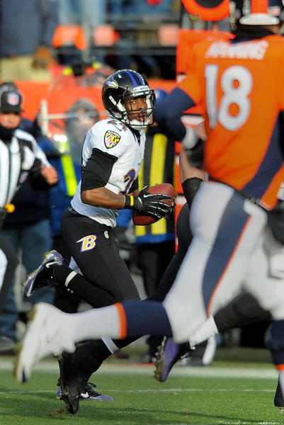 Ravens cornerback Corey Graham intercepts a pass from Denver Broncos quarterback Peyton Manning and returns it for a touchdown in the first quarter of the Ravens' divisional playoff round win. Graham had another interception in the second overtime that set up the game winning field goal.