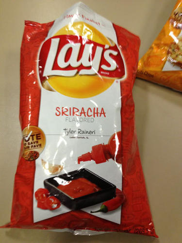 """Sriracha chips > Flamin' Hot anything"" - <b>Mick Swasko</b><br>  ""I love sriracha, but on things. Not alone. Would make a good sandwich topper. Vinegar-y taste. Seems spot-on for sriracha spicey."" - <b>Rex Chekal</b><br>  ""Serious throat burning/ nose-running going on here.  Way more vinegary than sriracha."" - <b>Lisa Arnett</b><br>  ""Amazing. A lot of kick. Very vinegary, which is cool. I could eat a lot of these. Also, ""Popped this sriracha chip & I'm sweatin', WOO!"" - <b>Adam Lukach</b><br>  ""Looks like BBQ but better than BBQ chips. If you like spicy foods, this gives you a little kick to your mouth. Definitely Lay's answer to Flamin' Hot Cheetos."" - <b>Leonor Vivanco</b><br>"