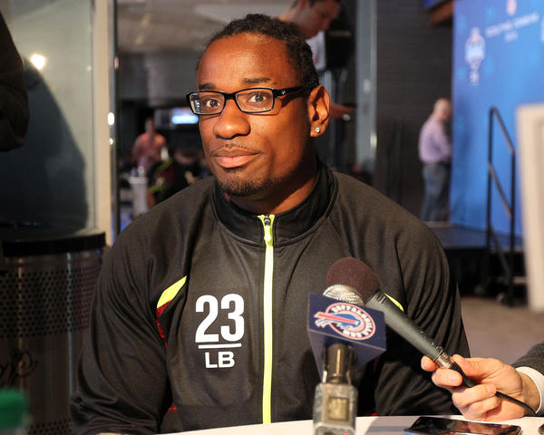 Linebacker Sio Moore speaks at a press conference during the NFL Combine at Lucas Oil Stadium.