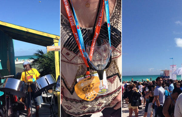 Scenes from the South Beach Food and Wine Festival. From left, a music performer at the festival, Jenn Harris wearing one of the festival wine lanyards, and a group of festival goers on the beach.