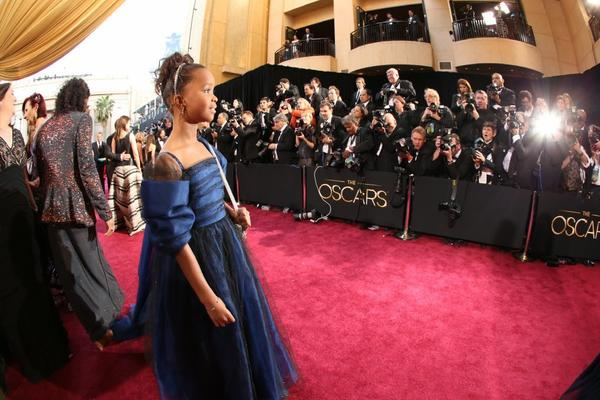 Quvenzhane Wallis arrives at the 85th Academy Award.