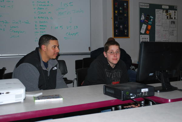 Devon Bonds and Spencer Anderson participated in the Manchester Police Department's video game night.