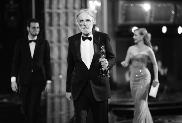 "Director Michael Haneke accepting the award for Best Foreign Feature for his film ""Amour."""