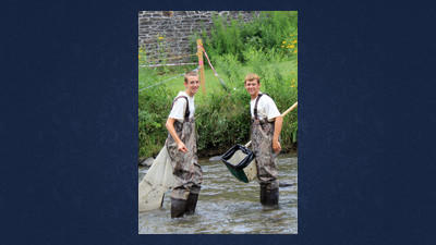 Brett Page and Colin Borzell attended the Maryland Association of Forest Conservancy District career workshop for high school students interested in a career in natural resources last summer. They are in the process of shocking fish in the Casselman River, providing them with data on fish populations.