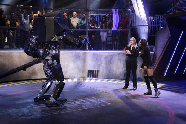 "ROBOT COMBAT LEAGUE -- ""Fight Night 3"" -- Pictured: (l-r) GameOver, Annika O'Brien, Keisha Howard -- (Photo by: Nicole Wilder/Syfy)"