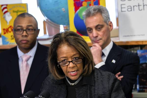 Mayor Rahm Emanuel and Chicago Public Schools Chief Executive Officer Barbara Byrd-Bennett announce a $15 million investment in education for the city's youngest students. Emanuel and Byrd-Bennet were joined by  Ald. Howard Brookins, Jr., left, at Paul Cuffe Elementary School.