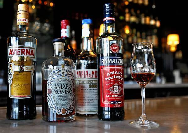 A selection of amari at the Amaro Bar at Osteria Mozza. The Italian bitters are sipped after a meal, and also used an element in cocktails.