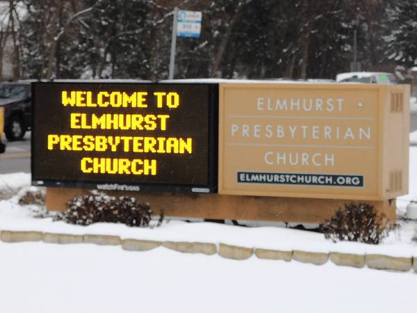 Electronic sign at Elmhurst Presbyterian Church – southeast corner of Spring Road and St. Charles Road