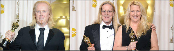 "Winners of the Academy Award for sound editing -- a rare Oscars tie -- include, from left, Paul N.J. Ottosson for ""Zero Dark Thirty"" and Per Hallberg and Karen Baker Landers for ""Skyfall."""