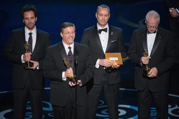 "Guillaume Rocheron, from left, Bill Westenhofer, Donald R. Elliott and Erik-Jan De Boer accept the Oscar for Achievement in Visual Effects for work on ""Life of Pi"" during the 85th Academy Awards at the Dolby Theatre in Hollywood."