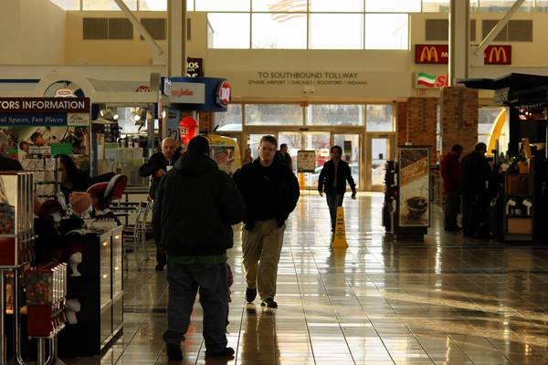 Shoppers browse the stores at Lake Forest Oasis on the Tri-State Tollway. Sales-tax renvenue at the oasis is split between Lake Forest and Mettawa.