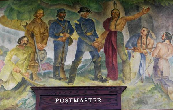 "The restored ""Indians Cede the Land"" mural hangs on the wall of the Park Ridge Public Library in Park Ridge. The piece, which was painted by Chicago artist George Melville Smith in 1940, was displayed at the Park Ridge Post Office until 1970."