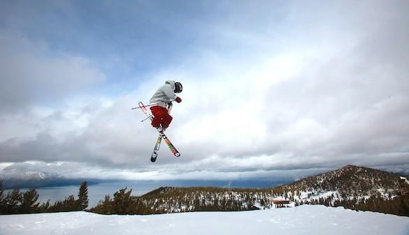 At Heavenly, Kyle Smaine jumps off a snow park feature earlier in the season at the resort in South Lake Tahoe, Calif.
