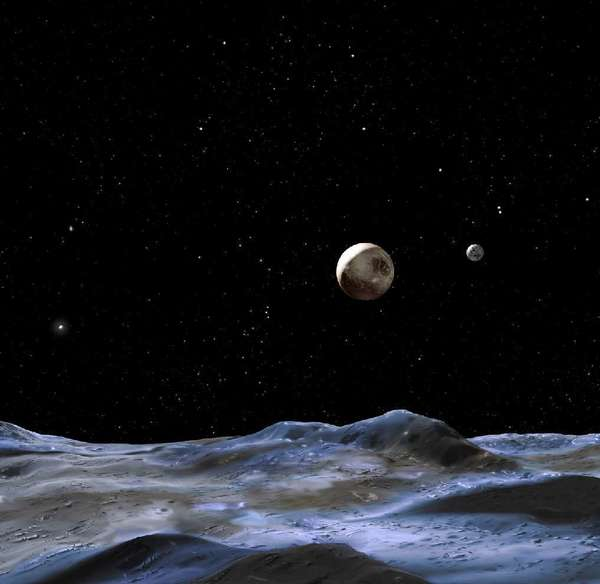 This artists' rendering from NASA depicts how Pluto might look from the surface of one it's three bigger moons. The two smallest moons may be named Vulcan and Kerberos.
