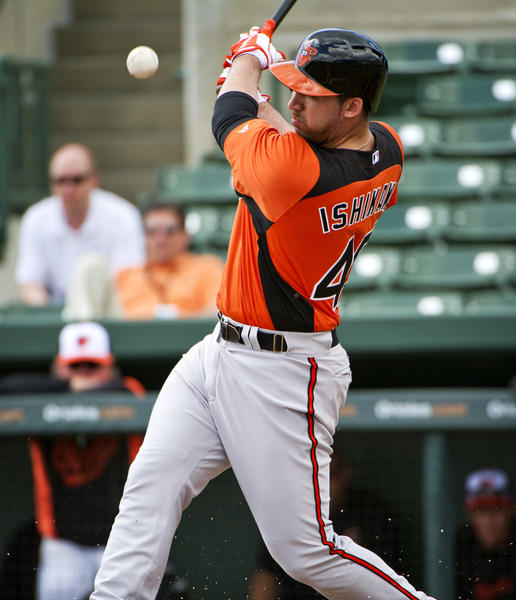 Orioles' Travis Ishikawa fouls off a pitch during an intrasquad game Thursday afternoon.