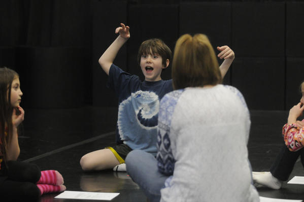 WEST HARTFORD--2/25/13--Will Kuhnly, 9, of West Hartford acts out a character during the first session of Introduction to Theater at Connecticut Family Theatre in West Hartford Monday afternoon.