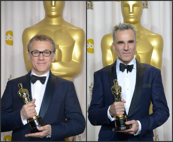 Among the men taking the tuxedo to another level at the 85th Academy Awards were Oscar winners Christoph Waltz, left, and Daniel Day-Lewis. Both chose navy blue tuxedos.