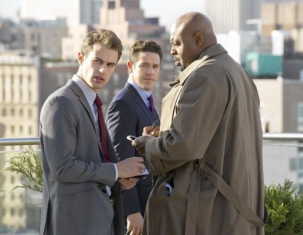 "Theo James, left, Kevin Alejandro and Chi McBride star in ""Golden Boy."""