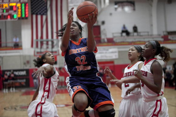 Young's Taylor Brame goes up for a layup Monday against Bolingbrook in the Class 4A Hinsdale Central Supersectional.