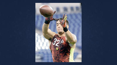 Notre Dame linebacker Manti Te'o runs a drill during the NFL football scouting combine Monday in Indianapolis.
