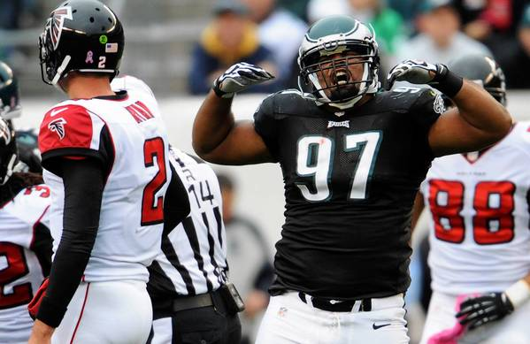 Defensive tackle Cullen Jenkins celebrates during a game against Atlanta last season.