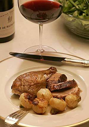 Crisp-skinned duck with turnips
