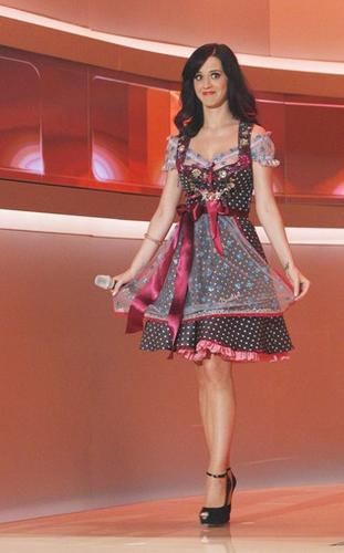"""Singer Katy Perry arrives in a Dirnl, a traditional Bavarian dress, during the German game show """"Wetten Dass"""" (Bet it...?) in Munich on Oct. 2, 2010. Wetten Dass is one of the most popular Saturday night programs in Germany and Austria."""