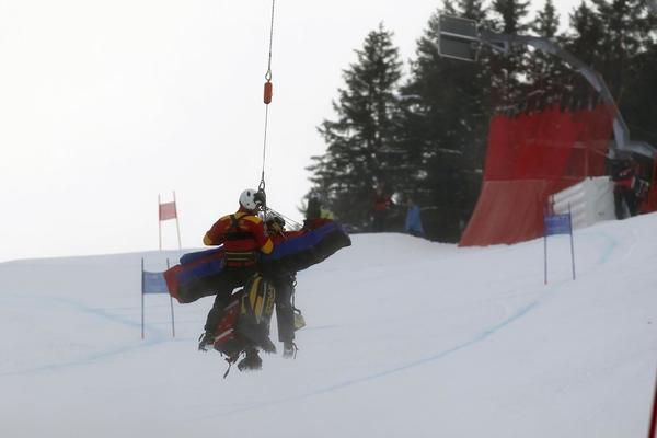 Lindsey Vonn is helicoptered off the course during the Alpine world ski championships.