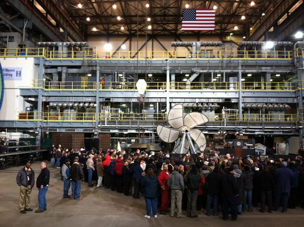A crowd gathers prior to President Barack Obama's arrival at Newport News Shipbuilding on Tuesday morning.