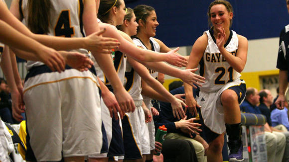 Gaylord senior Sarah Polena reacts to her team¿s performance in the fourth quarter after the senior point guard was taken out of the game. Gaylord hosts Traverse City Central at 7 p.m. Wednesday in the District semifinal.