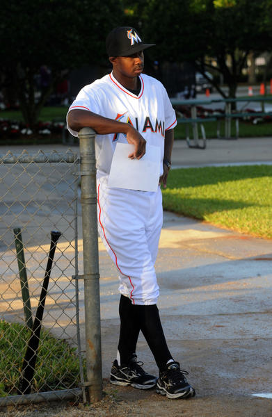 Miami Marlins  Juan Pierre waits his turn to be photographed.