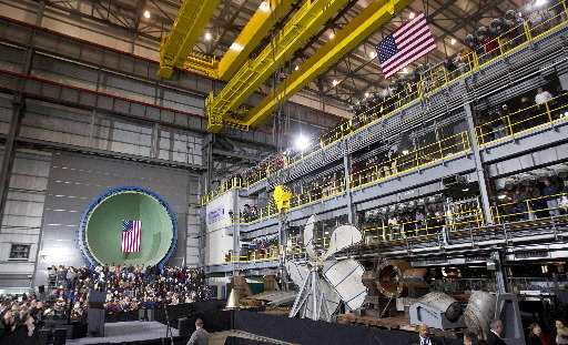 A crowd gathers in the Submarine Module Outfitting Facility prior to President Barack Obama's arrival at Newport News Shipbuilding on Tuesday morning.