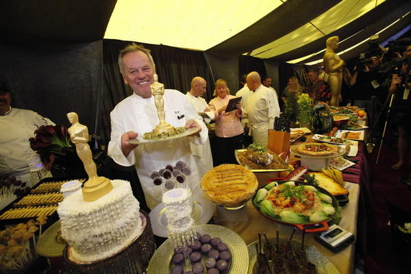 Chef Wolfgang Puck is interviewed during the food and beverage preview for this year's Governors Ball in preparation for the 85th Academy Awards.
