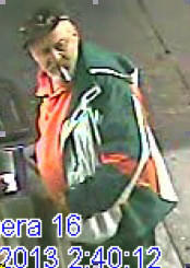Surveillance-camera image of suspect in beating at San Diego gas station.