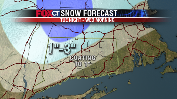 Snow, sleet and rain showers are expected across the state tonight into Wednesday morning.