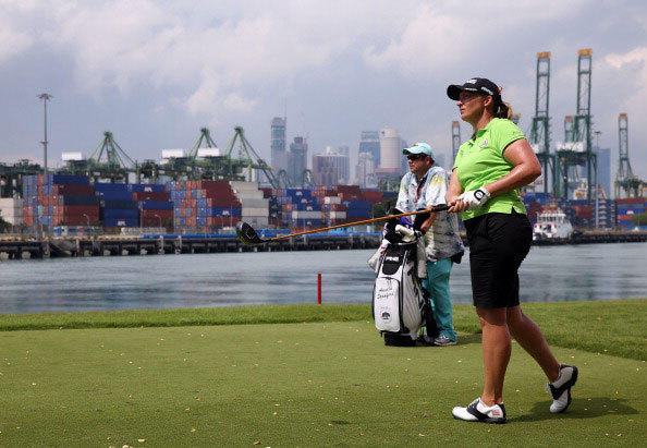 Angela Stanford of the USA tees of on the 6th hole during a practice round at the Sentosa Golf Club prior to the start of the HSBC Women's Champions at the Sentosa Golf Club on February 26, 2013 in Singapore, Singapore.