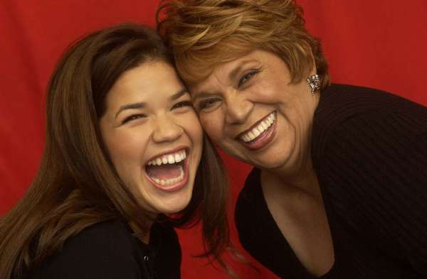 "Lupe Ontiveros, right, and America Ferrera, promoting the film ""Real Women Have Curves"" at the 2002 Sundance film festival."
