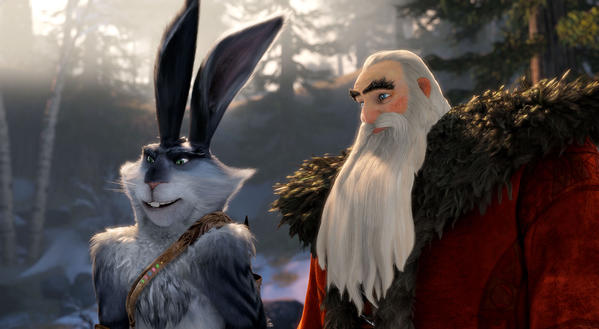 "Bunnymund (Hugh Jackman) and North (Alec Baldwin) in DreamWorks Animation's ""Rise of the Guardians."""