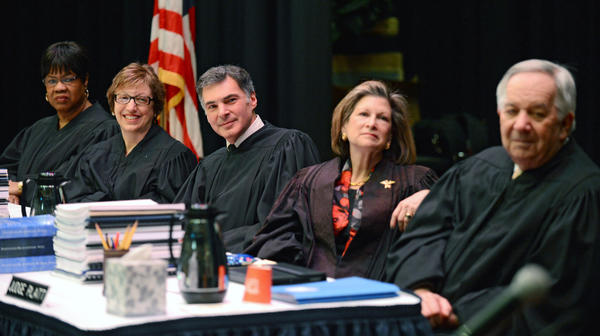 Pennsylvania Superior Court Judges (from left) Honorable Cheryl Lynn Allen, Honorable Susan Peikes Gantman, Honorable Jack A. Panella, Honorable Anne E. Lazarus, and Honorable William H. Platt listen to Judge of the Court of Common Pleas of Northampton County Edward G. Smith (not pictured) and United States Navy, Iraq Veteran speak at the opening ceremony. The Pennsylvania Superior Court held a special session of argument court Tuesday at Northampton Community College's Lipkin Theatre in Kopecek Hall. They will be meeting for a second day on Wednesday as well. Before the cases started on Tuesday they invited the media in for an opening ceremony honoring those who serve as a tribute to our veterans.