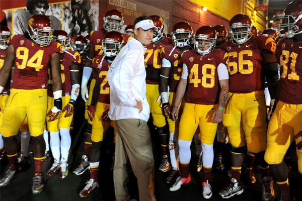 Lane Kiffin and USC football will open spring practice next Tuesday.
