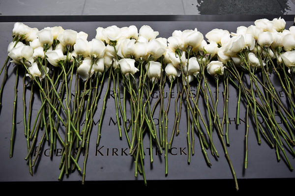 Roses lay at the memorial site after a ceremony marking the 20th anniversary of the 1993 World Trade Center bombing.