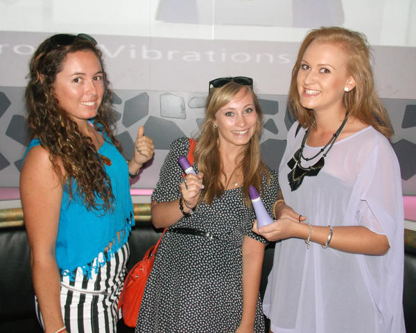 Sexy reps from Trojan, the popular condom company, handed out free vibrators during a giveaway to promote their new sexy toys, Triphoria and Pulse. The event was held at the Nowhere Lounge on South Beach.