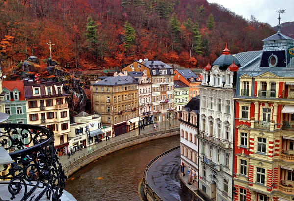 Art Nouveau buildings line the river that curves through Karlovy Vary, Czech Republic.