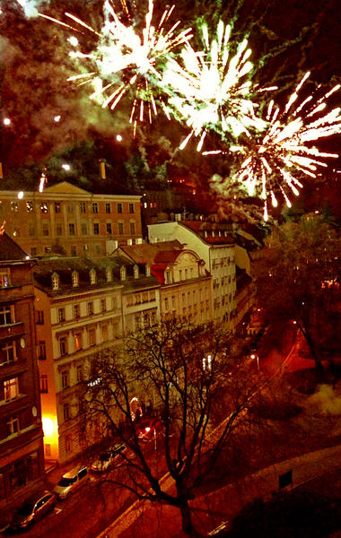 Fireworks ring in the new year in the Czech city of Karlovy Vary, which is known for its spas and hot springs.