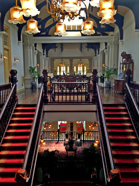 The main staircase at the Raffles Hotel in Singapore, which first opened in 1887.