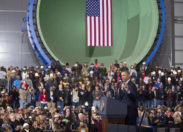 President Barack Obama speaks about the impending effects of sequestration at Newport News Shipbuilding on Tuesday.